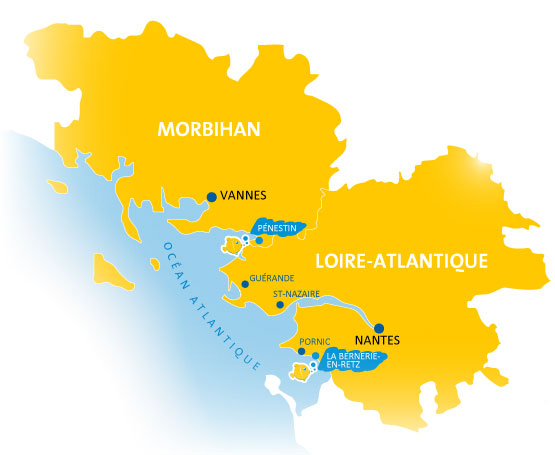 Situation Campings Chadotel - carte du Morbihan et de la Loire-Atlantique
