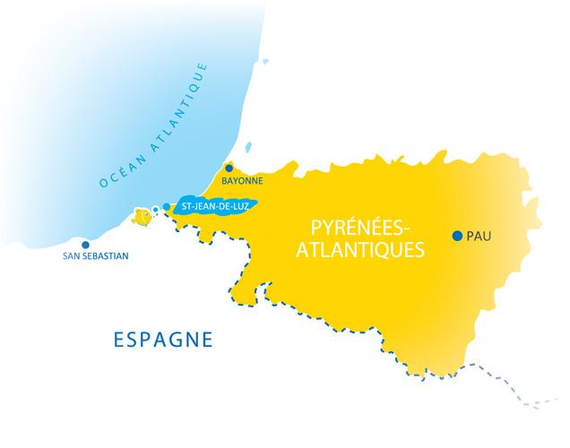 Situation Campings Chadotel - carte Pyrénées Atlantiques - Pays Basque