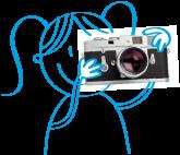 dessin de fillette prenant une photo